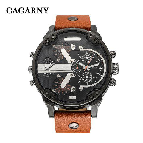 Outfits Cagarny 6820 Date Function Male Quartz Watch Double Movt Wristwatch with Decorative Sub-dials Leather Strap -   Mobile