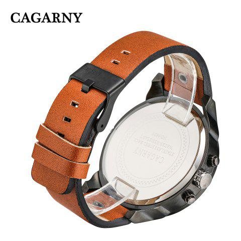 Unique Cagarny 6820 Date Function Male Quartz Watch Double Movt Wristwatch with Decorative Sub-dials Leather Strap -   Mobile