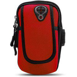 Unisex Water Resistant Arm Bag with Hole for Earphone Cable - RED