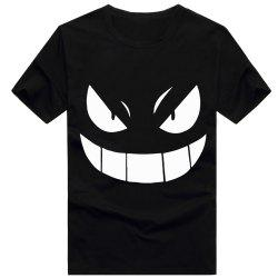 Monster Cartoon Print Cotton Unisex Short Sleeves T-shirt