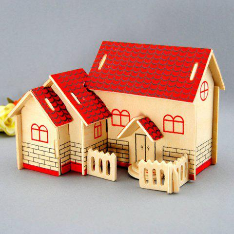 Fancy Wooden DIY Music Box Villa Shape Handcraft Educational Toy for Child - RED  Mobile