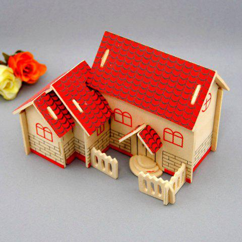 Trendy Wooden DIY Music Box Villa Shape Handcraft Educational Toy for Child - RED  Mobile