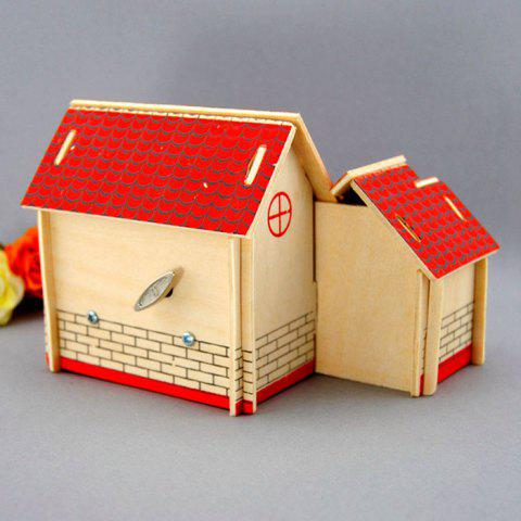 Outfit Wooden DIY Music Box Villa Shape Handcraft Educational Toy for Child - RED  Mobile