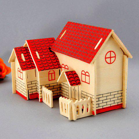 Cheap Wooden DIY Music Box Villa Shape Handcraft Educational Toy for Child - RED  Mobile
