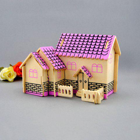 Trendy Wooden DIY Music Box Villa Shape Handcraft Educational Toy for Child - PINK  Mobile