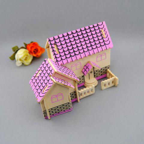 Fancy Wooden DIY Music Box Villa Shape Handcraft Educational Toy for Child - PINK  Mobile