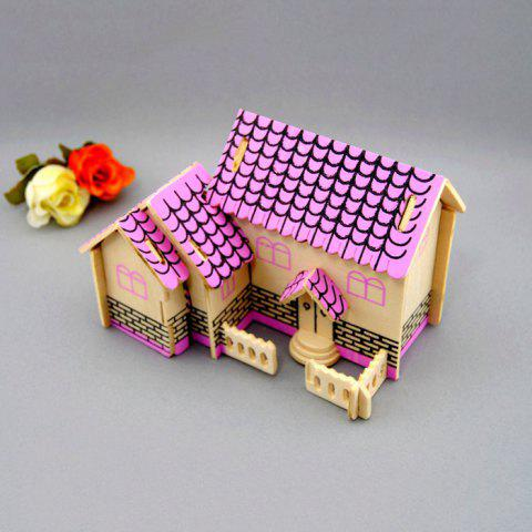 Cheap Wooden DIY Music Box Villa Shape Handcraft Educational Toy for Child - PINK  Mobile