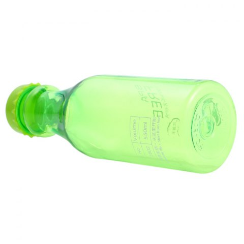 Fancy 550ml Portable Leak Proof Sports Water Bottle BPA Free with Lanyard - TRANSPARENT GREEN Mobile
