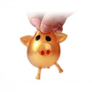 Novelty Elastic Squeeze Pig Pattern Stress Release Vent Relax Toy for Kid - GOLDEN