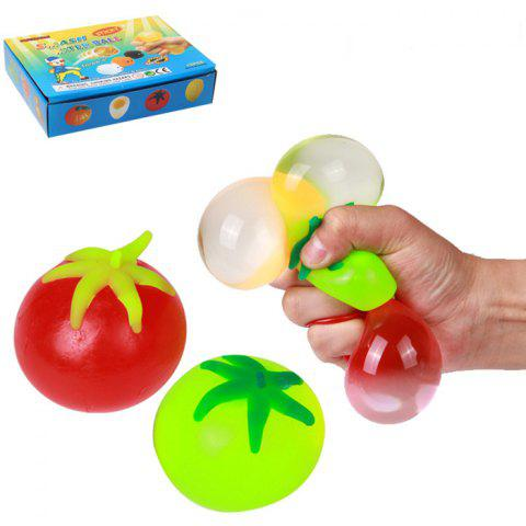 1pc Novelty Elastic Squeeze Tomato Stress Release Vent Relax Toy for Kid - COLORMIX