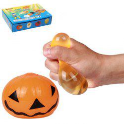 Novelty Elastic Squeeze Halloween Pumpkin Stress Release Vent Relax Toy for Kid - YELLOW