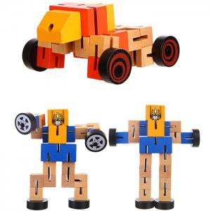 Wood Changeable Cartoon Figure Building Block Robot Car Intelligence Toy for Kid -