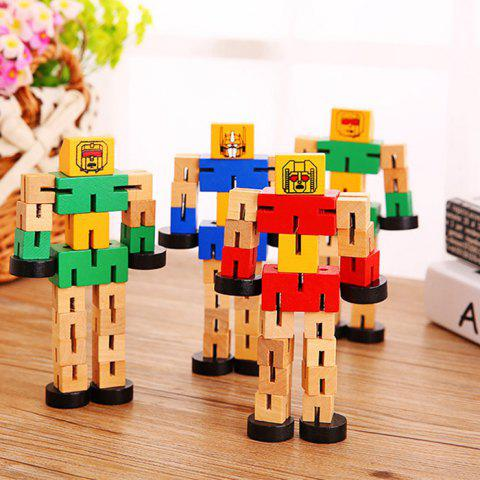 Discount Wood Changeable Cartoon Figure Building Block Robot Car Intelligence Toy for Kid