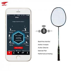 Sotx A1B - Smart Ultralight Carbon Intelligent Badminton Racket with Built-in Chip 1pc - BLACK AND GREEN