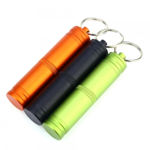 Mini Waterproof Bottle Compact Aluminum Alloy Key Ring Pill Seal Pot for Outdoor Sports - BLACK