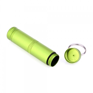 Mini Waterproof Bottle Compact Aluminum Alloy Key Ring Pill Seal Pot for Outdoor Sports - GREEN