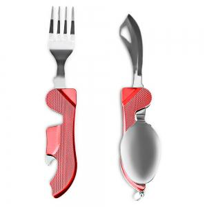 4 in 1 Stainless Steel Foldable Tableware Fork / Spoon / Knife / Bottle Opener