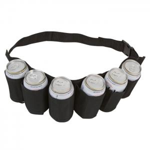 6-pack Portable High Quality Beer Belt Drink Bottle Holder Waist Bag for Outdoor Sports - BLACK