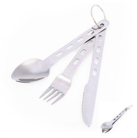 Chic 3-piece Stainless Steel Tableware with Ring Fork / Spoon / Knife - SILVER  Mobile