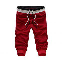 Men Casual Drawstring Shirred Leg Capri Pants
