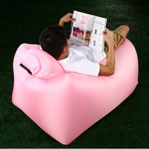 Chic Portable Inflatable Lazy Sofa Beach Chair with Pillow for Outdoor Sports PINK