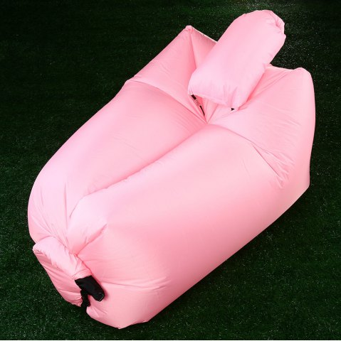 Trendy Portable Inflatable Lazy Sofa Beach Chair with Pillow for Outdoor Sports - PINK  Mobile