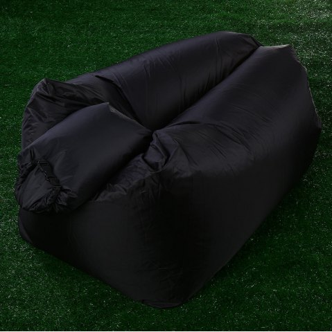 Unique Portable Inflatable Lazy Sofa Beach Chair with Pillow for Outdoor Sports - BLACK  Mobile