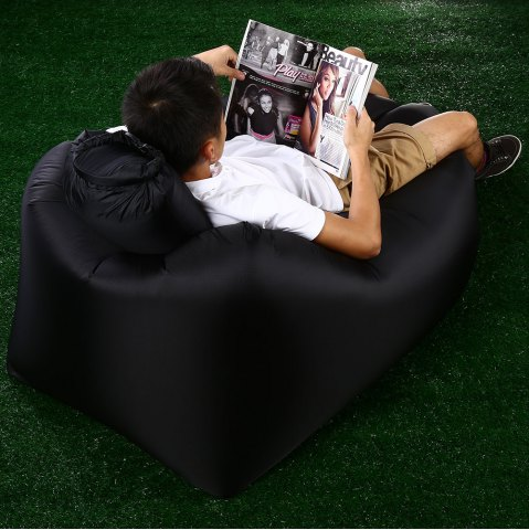 Portable Inflatable Lazy Sofa Beach Chair with Pillow for Outdoor Sports - BLACK