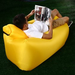 Portable Inflatable Lazy Sofa Beach Chair with Pillow for Outdoor Sports - YELLOW