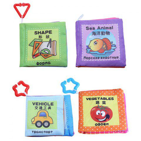 Hot Baby Chinese English Russian Cloth Book Early Development Toy - 4pcs / set
