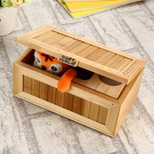 Plush Tiger Style Wooden Box with Sound Electronic Machine Fully Assembled -