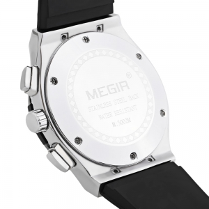 MEGIR 3002 30m Water Resistant Men Quartz Watch with Silicone Strap Date Function -
