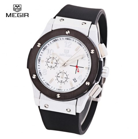 Fashion MEGIR 3002 30m Water Resistant Men Quartz Watch with Silicone Strap Date Function