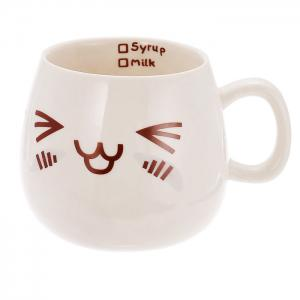 Cute Face Style Ceramic Mug for Coffee Tea Juice Water Milk - WHITE HAPPY FACE