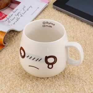 Cute Face Style Ceramic Mug for Coffee Tea Juice Water Milk - White - Sad Face