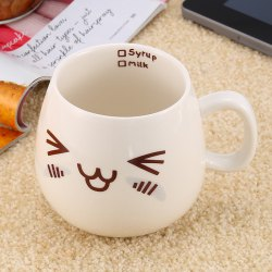 Cute Face Style Ceramic Mug for Coffee Tea Juice Water Milk - WHITE