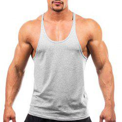 Men Cotton Solid Color Spaghetti Straps Fitness Tank Top Vest