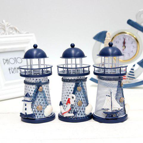 Discount Mediterranean Style Iron Handmade Lighthouse Home Office Party Decoration RANDOM COLOR PATTERN SIZE S