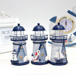 Mediterranean Style Iron Handmade Lighthouse Home Office Party Decoration - RANDOM COLOR PATTERN SIZE S