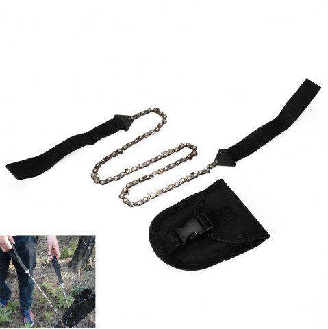 Cheap Portable Foldable Hand Chain Saw Pocket Gear for Outdoor Survival - BLACK  Mobile