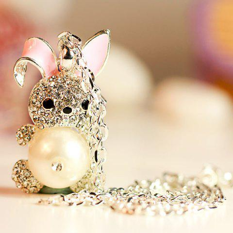 Latest Stylish Inlaid Diamond and Pearl Tummy Rabbit Pendant Necklace