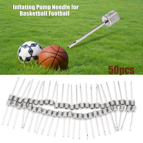 50pcs Inflating Pump Needle Adapter for Basketball Football - Silver - 50pcs