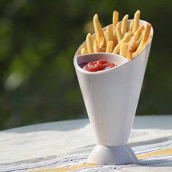 Creative French Fry Cone Dipping Cup 2 in 1 Water Drinking Mug - WHITE