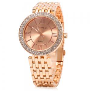 contena GENEVA Business Style Diamond Round Dial Female Quartz Watch -