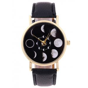 Faux Leather Lunar Eclipse Quartz Watch - Black