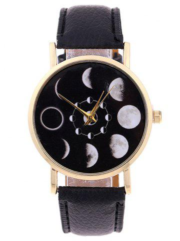 Shop Faux Leather Lunar Eclipse Quartz Watch BLACK