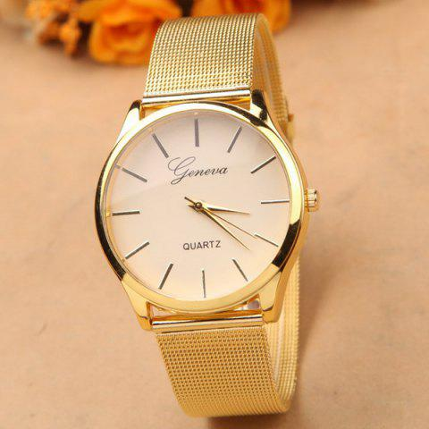 Fashion Alloy Steel Band Quartz Watch - GOLDEN  Mobile