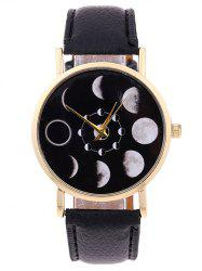 Faux Leather Lunar Eclipse Quartz Watch -