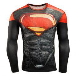 Men Cartoon Print Compression Tight T Shirt Fitness Tops - RED