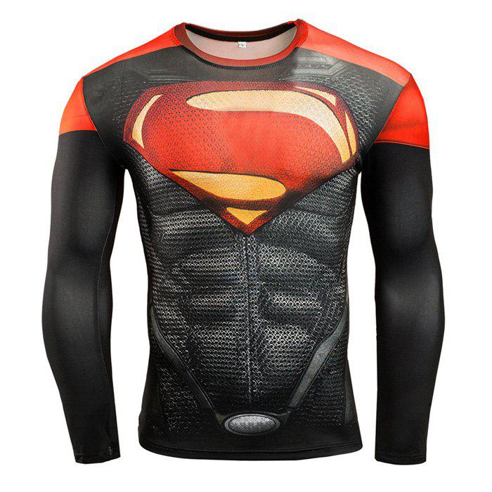 Men Cartoon Print Compression Tight T Shirt Fitness TopsHOME<br><br>Size: M; Color: RED; Types: Long Sleeves; Size: 2XL,3XL,L,M,XL; Features: Breathable,High elasticity,Quick Dry; Gender: Men; Material: Cotton; Color: Black,Red;